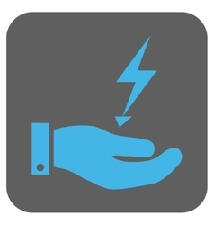 Electricity Supply Hand Rounded Square Icon vector