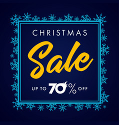 elegant merry christmas sale lettering blue vector image