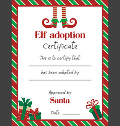 Elf adoption certificate template with cute vector