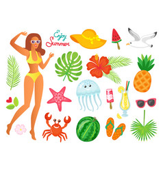 enjoy summer woman and summertime elements set vector image