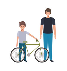 Father and son with bicycle avatar character vector