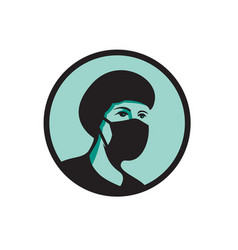 Female nurse wearing black mask mascot vector