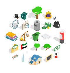 financial capital icons set isometric style vector image