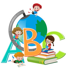 four children with globe and books vector image