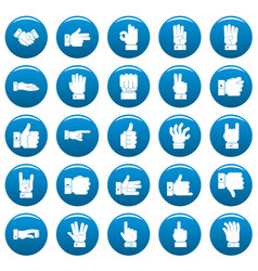 gesture icons set blue simple style vector image