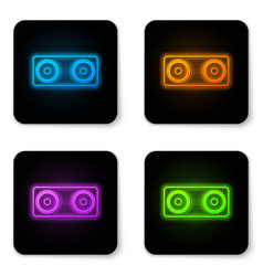 glowing neon stereo speaker icon isolated on vector image