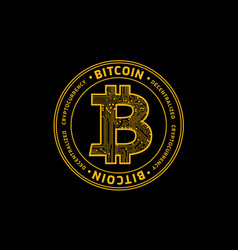 golden bitcoin symbol cryptocurrency vector image