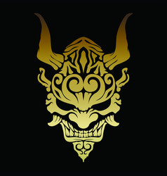 Golden oni demon with beautiful patterns and horns vector