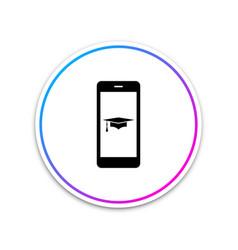 graduation cap and smartphone icon online vector image