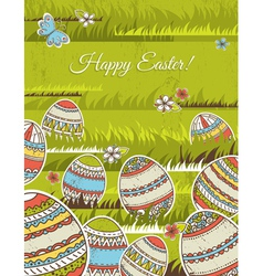 Green background with easter eggs vector