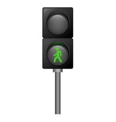 Green pedestrian traffic lights icon realistic vector