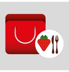 Grocery bag strawberry nutrition fruit vector