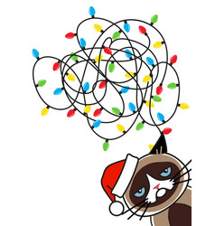 grumpy cat tangled christmas lights greeting card vector image