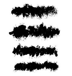 Grunge ink brush strokes set freehand black vector