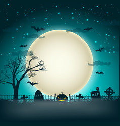 Halloween background with moon ball vector