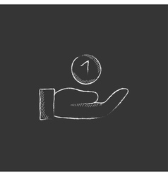 Hand and one coin Drawn in chalk icon vector
