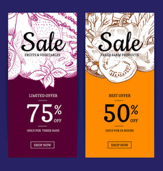 handdrawn fruits and vegetables sale flyer vector image