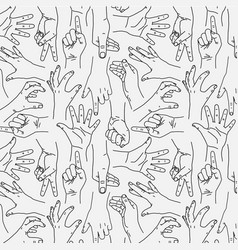 Hands gesture - seamless black and white pattern vector