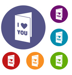 Happy valentines day or weeding card icons set vector