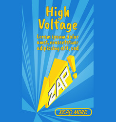 high voltage concept banner comics isometric vector image