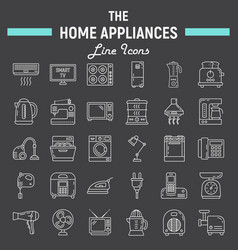 Home appliances line icon set technology symbols vector