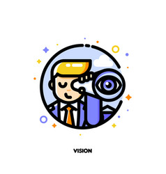Icon of businessman looking through telescope vector