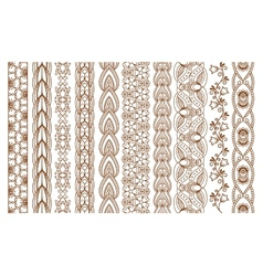 Indian Henna Seamless Borders vector