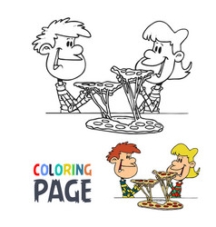 kids with pizza cartoon coloring page vector image