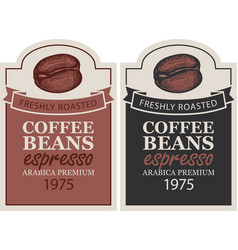 Labels for freshly roasted coffee beans vector