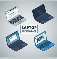 Laptop isometric icons set vector