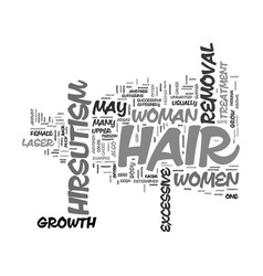 Laser hair removal and female hirsutism text vector
