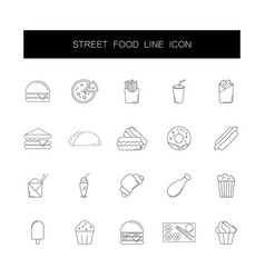 line icons set street food pack vector image