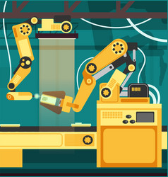 Manufacturing auto assembly line with robotic arms vector