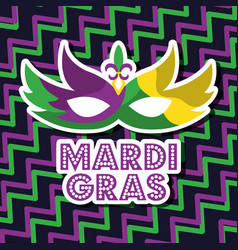 mardi gras carnival mask with feathers geometric vector image