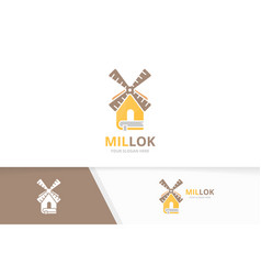 Mill and book logo combination farm and vector