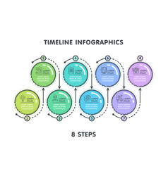 modern 8 steps timeline infographic template vector image