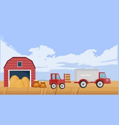 Old farm house fall season background vector