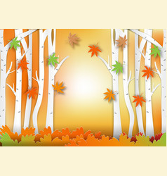 paper art style of forest for autumn concept vector image