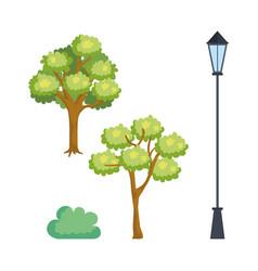 park scene set icons vector image
