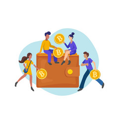people investing gold coins in bitcoin wallet vector image