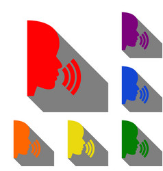people speaking or singing sign set of red vector image