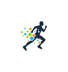 pixel run logo icon design vector image