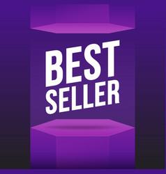 podium best seller violet mockup flat scene vector image