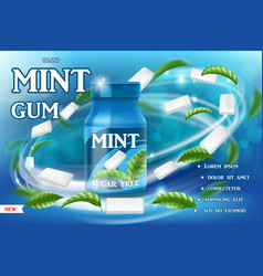 realistic mint gum poster ads gum packaging with vector image
