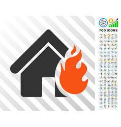 Realty fire damage flat icon with bonus vector