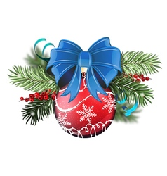 Red Christmas ball with blue bow vector image