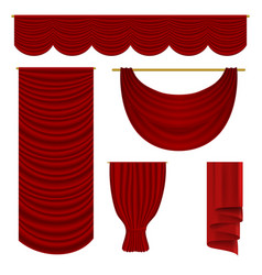 red drapery set vector image