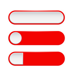 Red menu buttons 3d oval web icons vector