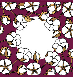 Round frame from cotton stems vector
