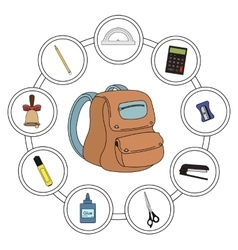 School backpack contents vector
